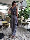Принтованный летний женский комбинезон клеш без рукава с верхом на запах 45kos709, фото 6