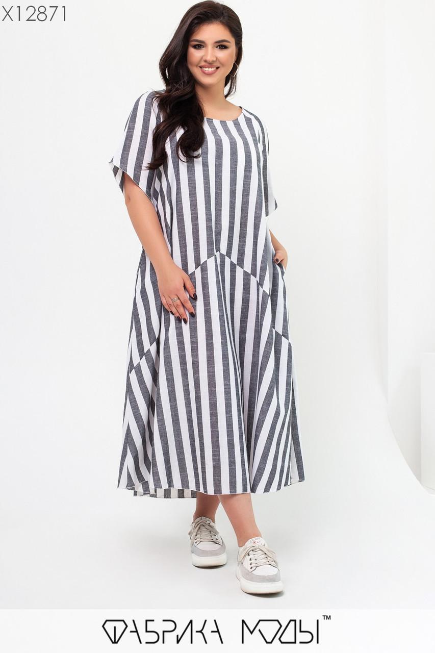 Льняное платье в полоску в больших размерах длиной миди с карманами 1blr658