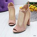 Женские замшевые закрытые босоножки на каблуке со сквозной сеткой OB6340, фото 2