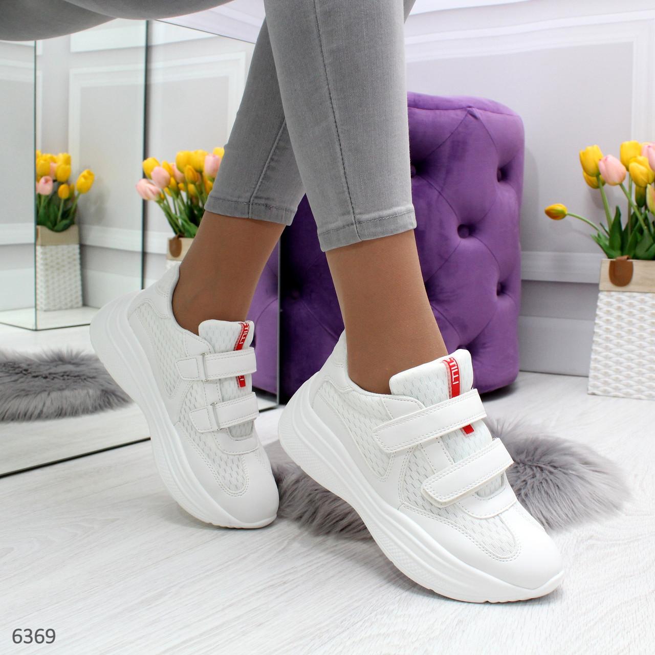 Белые женские кроссовки на липучках с контрастными полосками OB6369