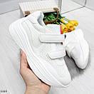 Белые женские кроссовки на липучках с контрастными полосками OB6369, фото 2