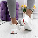 Белые женские кроссовки на липучках с контрастными полосками OB6369, фото 3