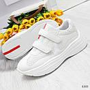 Белые женские кроссовки на липучках с контрастными полосками OB6369, фото 4