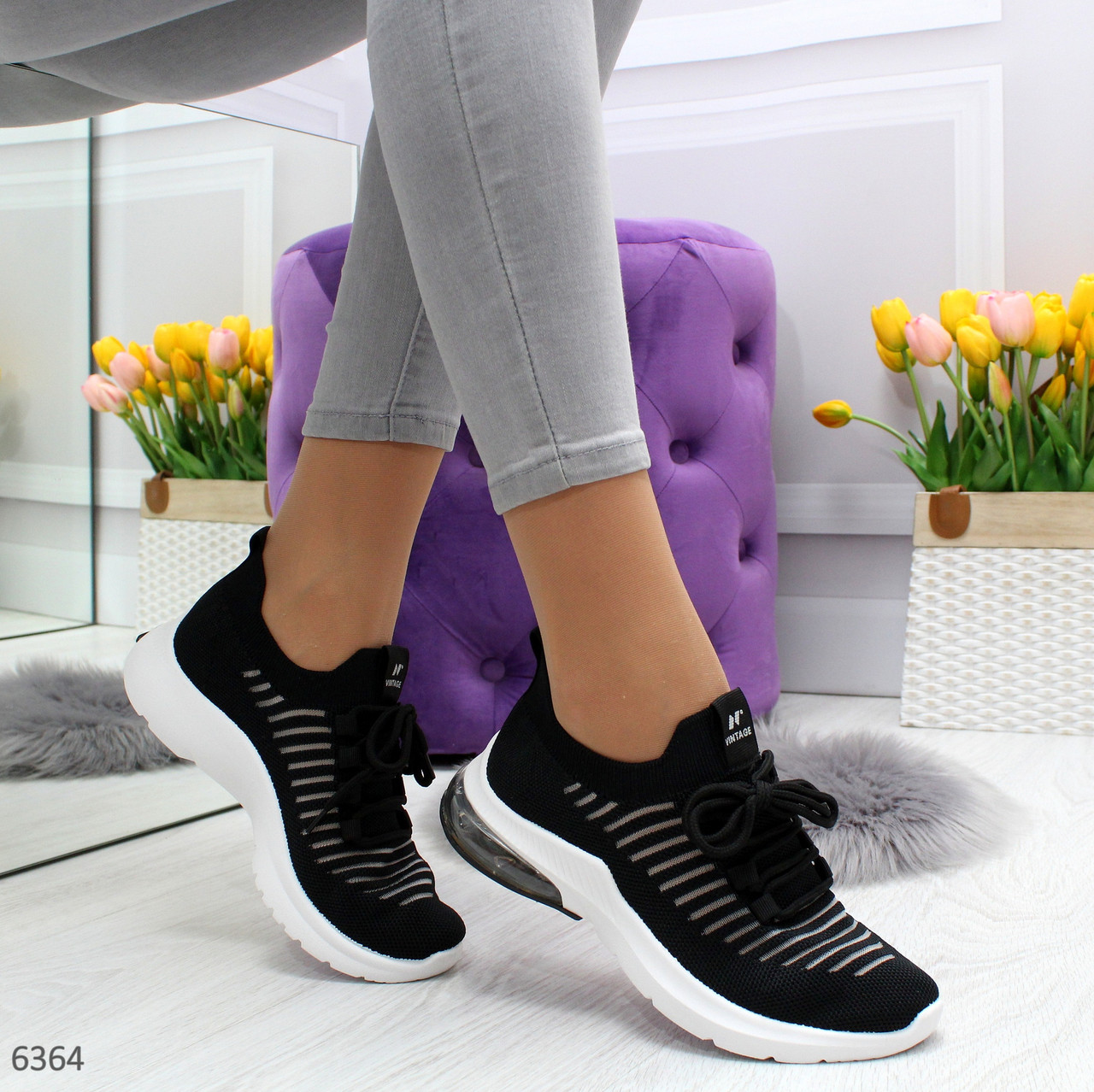 Летние спортивные женские кроссовки из текстиля со шнуровкой OB6364