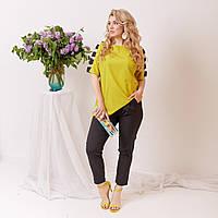 Стильный женский брючный костюм блуза брюки софт 50-52 54-56 58-60 черный горох черный с желтым