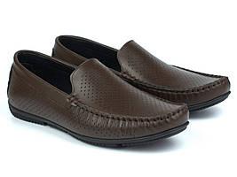 Коричневые летние мокасины кожаные перфорация мужская обувь больших размеров Rosso Avangard BS M4 PerfBrownie