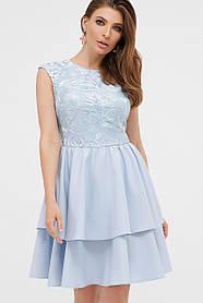 Коктейльное голубое платье для девушки нарядное стильное, размер от 42 до 48