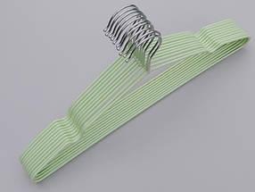 Плічка металевий в силіконовому покритті ніжно-салатового кольору, довжина 40,5 см, в упаковці 10 штук, фото 3
