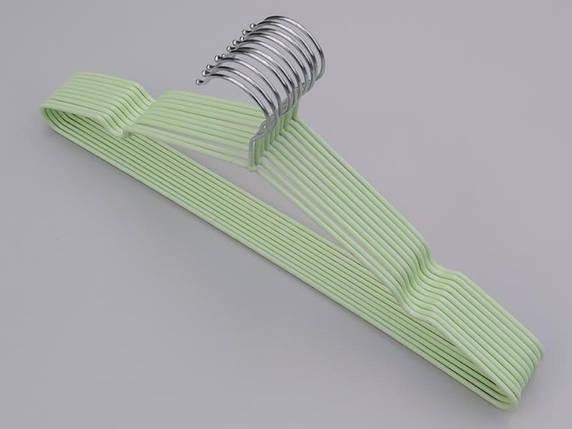 Плічка металевий в силіконовому покритті ніжно-салатового кольору, довжина 40,5 см, в упаковці 10 штук, фото 2