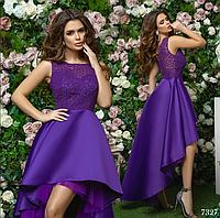 Платье вечернее красивое каскад гипюр+сетка+королевский атлас 42,44,46
