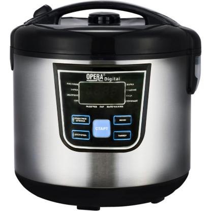 Мультиварка с функцией пароварки Opera Digital OD-166 Cooking Pro, 120 рецептов, 12 программ, 1500 Вт, серебро