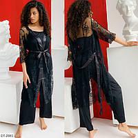Сексуальный комплект-кружевной халат и шёлковая брючная пижама с 50 по 54 размер