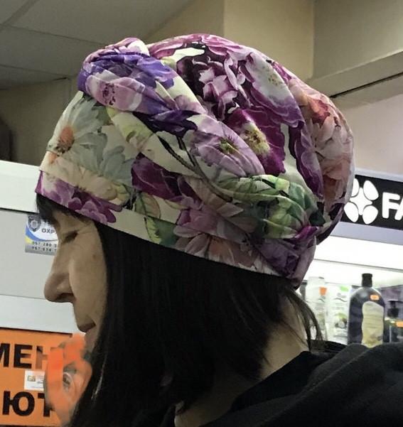 Летняя сиренево-салатовая бандана-шапка-косынка-чалма