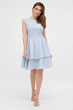 Коктейльне блакитне плаття з воланами розмір від 42 до 48, фото 2