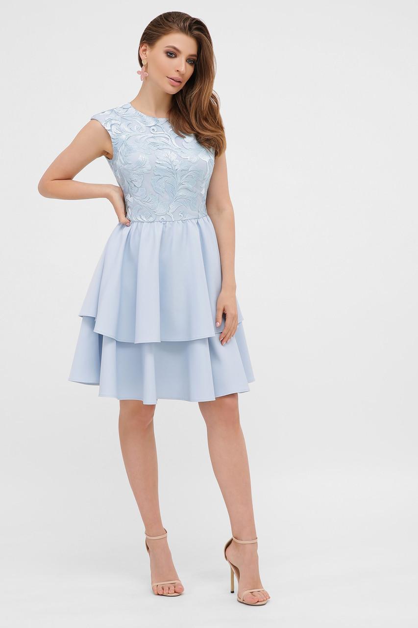 Коктейльне блакитне плаття з воланами розмір від 42 до 48