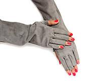 Замшевые перчатки-рукава, фото 1