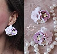 """Розовые серьги ручной работы """"Тюльпаны с розами"""""""