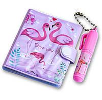 Блокнот для девочки + маленькая ручка, милые блокнотики для детей - Розовый фламинго, фото 1