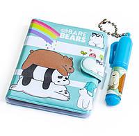 Блокнот для девочки (медведи, бирюза) детский маленький блокнотик + маленькая ручка, набор для детей, фото 1