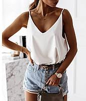 Майка женская свободная стильная летняя софт черная белая пудра 42-46