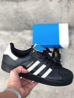 Женские кроссовки Adidas Superstar Black White Gold Logo, женские кроссовки адидас суперстар