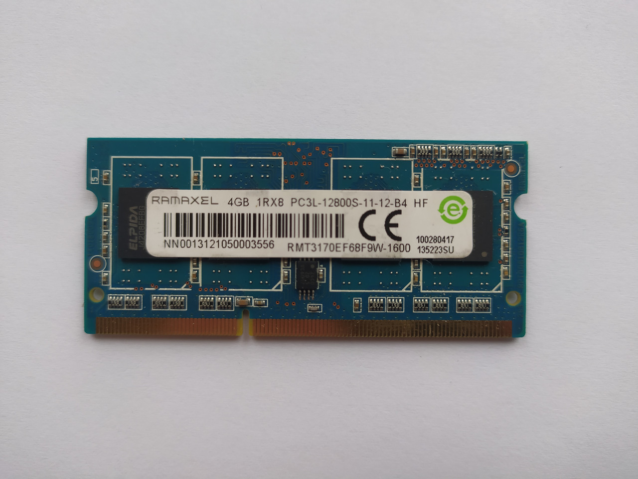 Оперативная память для ноутбука SODIMM Ramaxel DDR3L 4Gb 1600MHz PC3L-12800S (RMT3170EF68F9W1600) Б/У