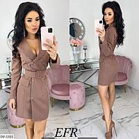 Красивое короткое женское платье-пиджак на пуговицах с поясом арт 453