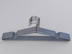 Плечики вешалки металлический в силиконовом покрытии серебристого цвета, длина 40,5 см, в упаковке 10 штук, фото 2