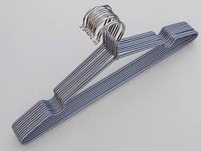 Плечики вешалки металлический в силиконовом покрытии серебристого цвета, длина 40,5 см, в упаковке 10 штук, фото 3