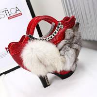 Осінь / зима голова лисиці туфелька жіноча сумка лисяче хутро 2 кольори, фото 1
