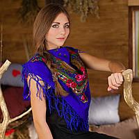 Українська хустка (100х100 см, синій)