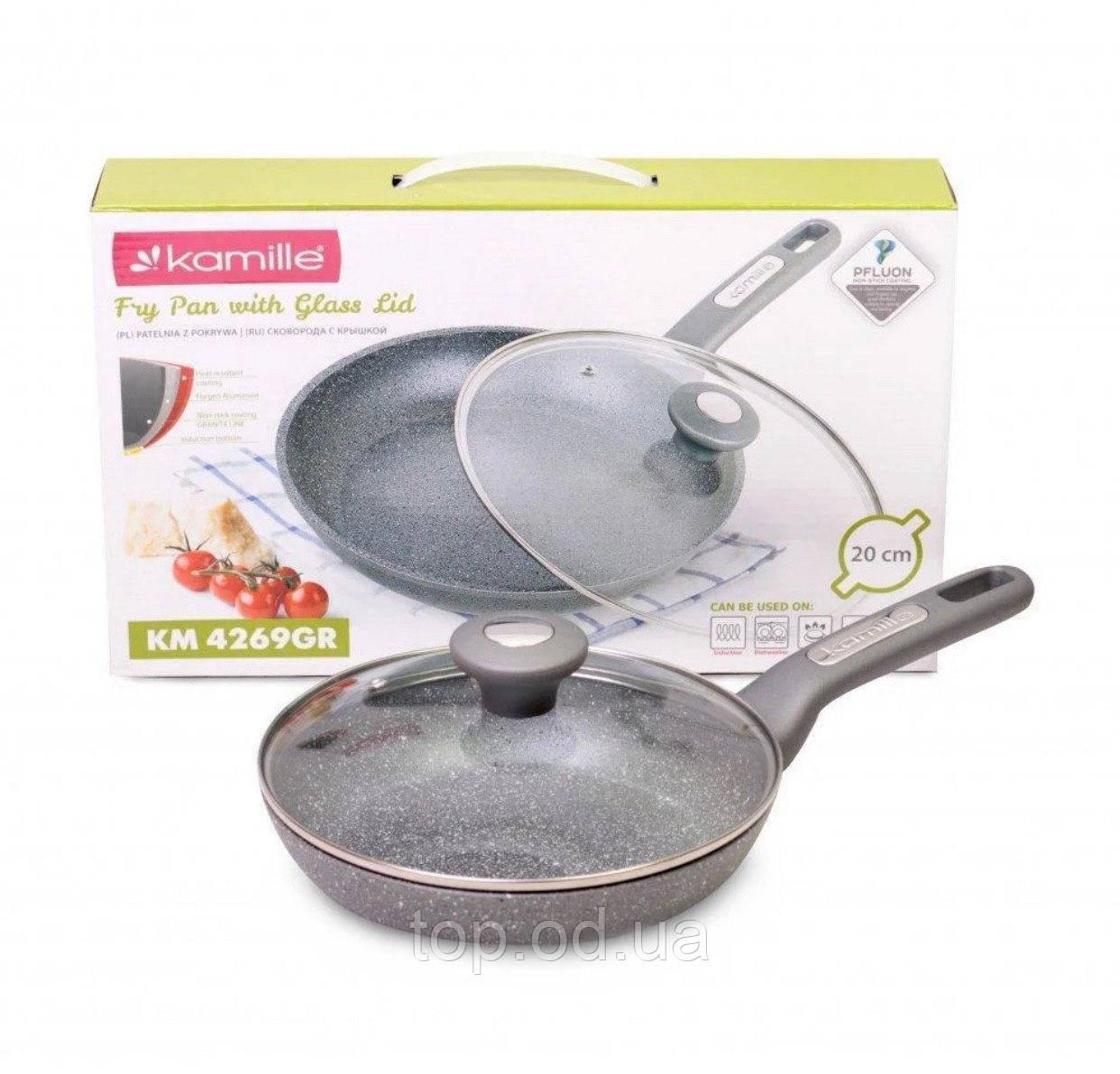 Сковорода покрытие гранит 20 см Kamille 4269GR