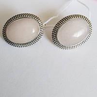 Сережки зі срібла з рожевим кварцом Сільвія, фото 1