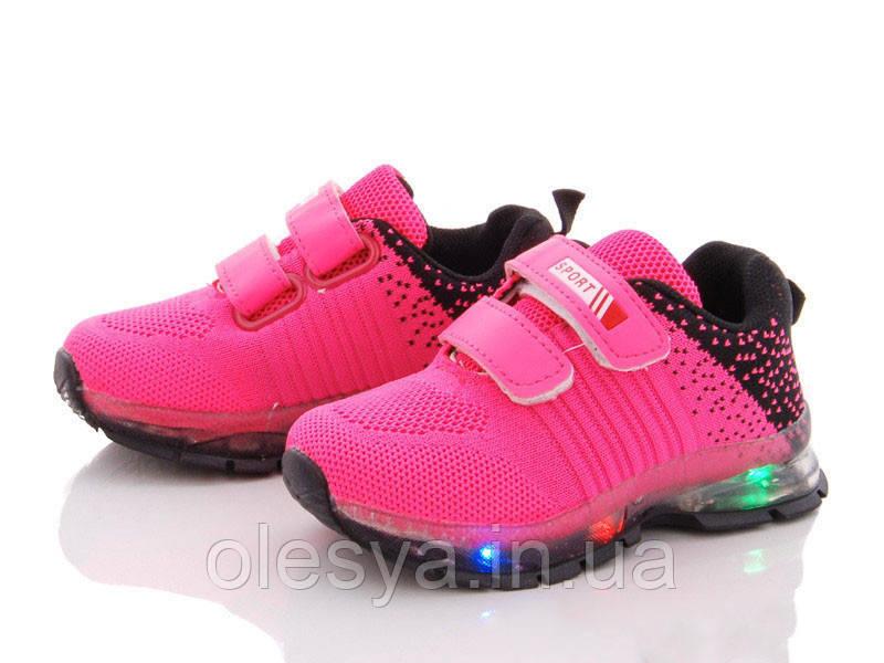 Модные летние кроссовки для девочек с подсветкой подошвы размеры 25 - 30