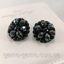 Сережки чорні вишиті кришталевими намистинами ручної роботи повсякденні вечірні стильні сережки