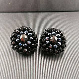 Сережки чорні кришталеві з намистин і бісеру ручної роботи повсякденні вечірні стильні сережки, фото 5