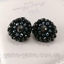 Сережки чорні кришталеві з намистин і бісеру ручної роботи повсякденні вечірні стильні сережки