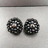Сережки чорні кришталеві з намистин і бісеру ручної роботи повсякденні вечірні стильні сережки, фото 2