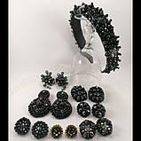 Сережки чорні кришталеві з намистин і бісеру ручної роботи повсякденні вечірні стильні сережки, фото 6
