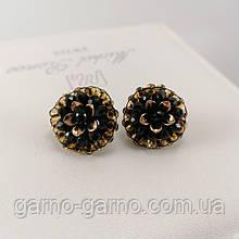 Сережки з бісеру і намистин чорні з золотом вишиті ручної роботи повсякденні вечірні стильні сережки