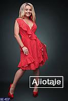 Летнее женское платье на запах в горошек большого размера, размеры 48-50, 52-54, 56-58, 60-62
