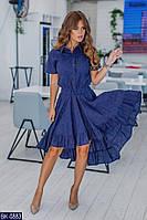 Летнее асимметричное женское платье из прошвы, размеры 42-46