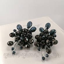 Сережки чорні вишиті намистинами і бісером вечірні стильні сережки ручної роботи