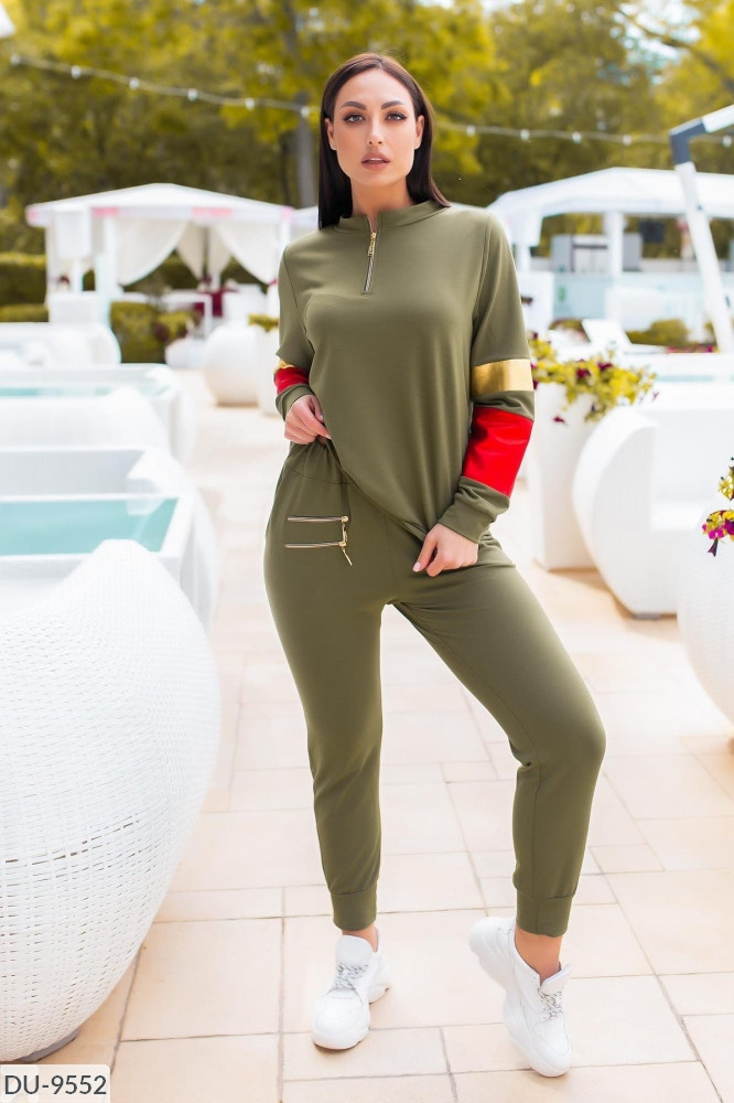 Женский спортивный костюм цвет хаки ботал, размеры: 50, 52, 54