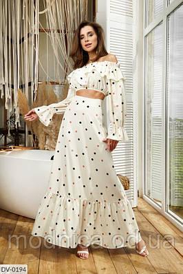 Женский костюм топ с юбкой в горошек, размеры XS, S, M, L