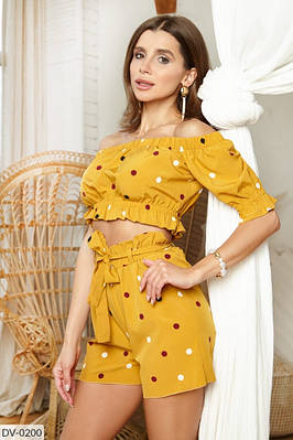 Женский летний костюм топ с шортами в горошек, размеры XS, S, M, L