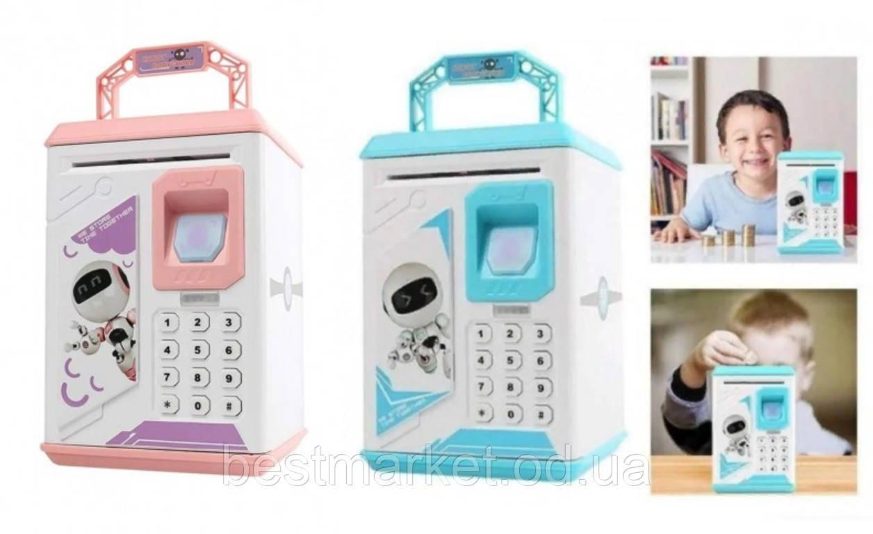 Дитяча Скарбничка Сейф з Електронним Кодовим Замком і Відбитком Пальця Robot Bodyguard Синя і Рожева