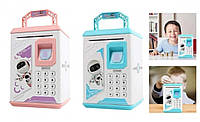 Дитяча Скарбничка Сейф з Електронним Кодовим Замком і Відбитком Пальця Robot Bodyguard Синя і Рожева, фото 1