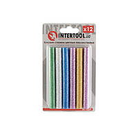 Комплект кольорових перламутрових клейових стрижнів 11.2 мм*100мм, 12шт INTERTOOL RT-1029