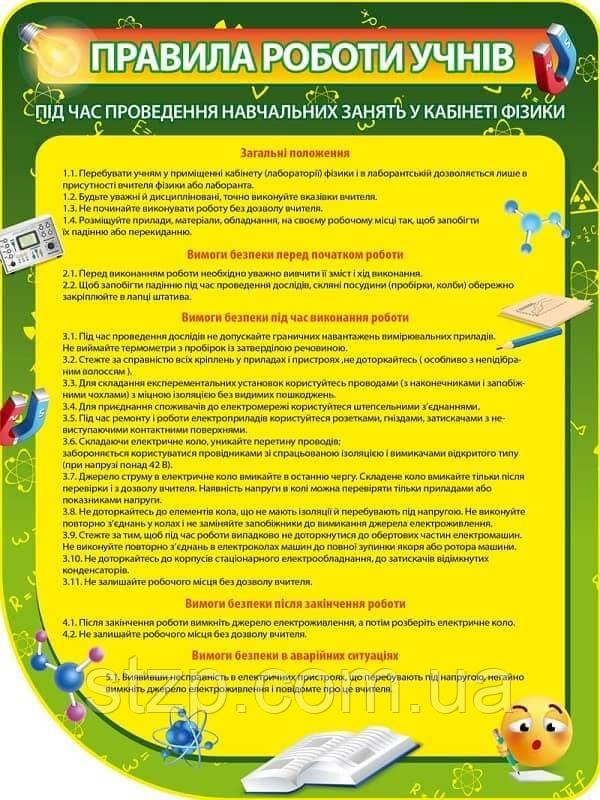 Стенд Правила работы учащихся (785х1045 мм)